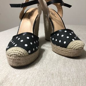 Lucky brand espadrille wedges, black & white dot